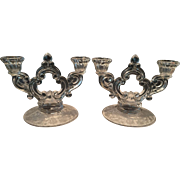 Cambridge Rose Point Double Candleholders