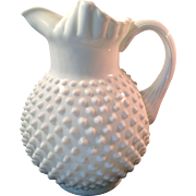 Fenton Art Glass Hobnail Pitcher with Ice Lip and Ruffled Rim