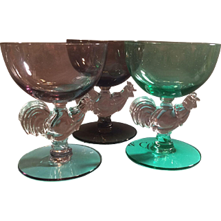 Set of 3 Morgantown Chanticleer Rooster Crystal Cocktail Glasses