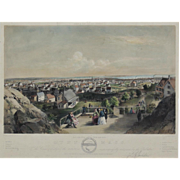 """Album of New England Scenery, Lynn Massachusetts 1""  A Bachelder, John Badger Hand Colored Lithograph Print"