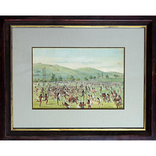 """""""The Indian Ball Game"""" Catlin George Lithograph Print"""