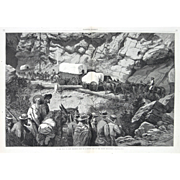 """On The Way To New Diggings, Halt In A Rough Pass Of The Rocky Mountains"" A Frenzeny & Tavernier Wood Engraving Print"
