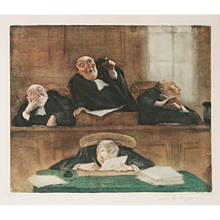 """Evacuez la Salle"" A Legal Etching Print by Artist Hoffman"