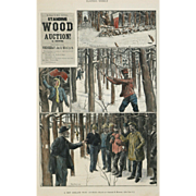 """""""A New England Wood Auction"""" A Hooper Charles Hand Colored Lithograph Print"""