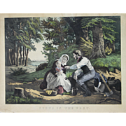 """A Scene in The West"" Hand Colored Lithograph by Artist Kimmel & Forster"
