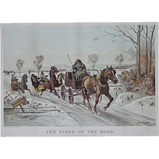 """""""The Fiend of the Road"""" a Lithograph print by Artist Leighton, Scott"""