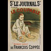 """""""Le Coupable-Maitres de l'Affiche-Plate 134"""" Steinlen, Theophile-Alexandre Lithograph Print"""