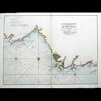 """""""Carte Particular Des Costes De Bretagne Depuis le Cap de Frehel"""" Mortier Pierre Map Engraving"""