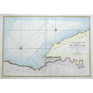 """""""Carte Particuliere Des Costes De Normandie Depuis Jusqu'a La Pointe De La Percee en Bessin"""" Mortier Pierre Map Engraving"""