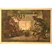 """""""Here We Are Again"""" Antique Christmas Print, Thomas Nast"""