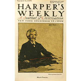 """Mark Twain"" Nichols William Lithograph Print"