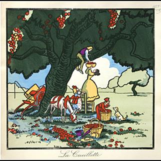 """La Cueillette"" Noury Pierre Woodblock Print"