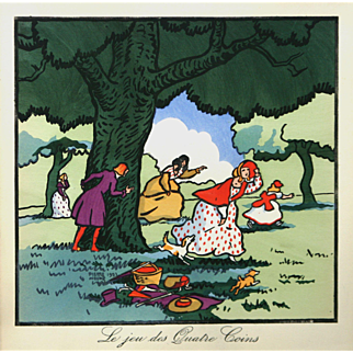 """""""Le Jeu des Quatre Coins (The Game for the Coins)"""" Noury Pierre Woodblock Print"""
