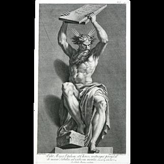 """""""Vidit Mouses Vitulum, et Choros, iratusque proijecit de manu Tabulas ad radicem mortis"""" Engraving by Parmigianino"""