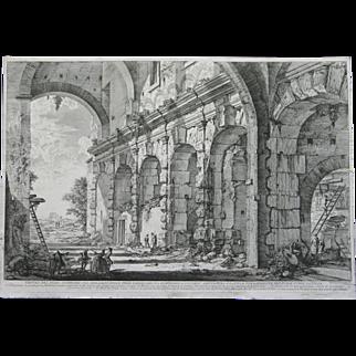 """""""Veduta del Piano Superiore de Serraglio delle Fiere Fabbricato"""" An Etching Print By Artist Piranesi"""