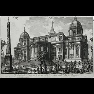 """""""Veduta della Facciata di Dietro della Basilica di S. Maria Maggiore"""" An Etching by Artist Piranesi"""