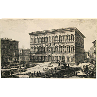 """Vedute del Palazzo Farnese"" An Etching By Artist Piranesi"