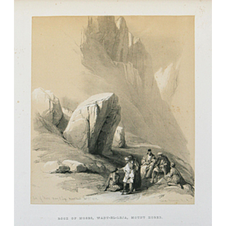 """Rock of Moses, Wady-El-Leja, Mount Hores"" A Tinted Lithograph Print by Artist Roberts, David"