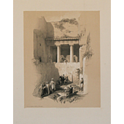 """Tomb of St. James, Valley of Jehasaphat, Jerusalem, 1839"" A Tinted Lithograph Print by Artist David Roberts"