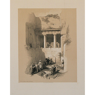 """""""Tomb of St. James, Valley of Jehasaphat, Jerusalem, 1839"""" A Tinted Lithograph Print by Artist David Roberts"""