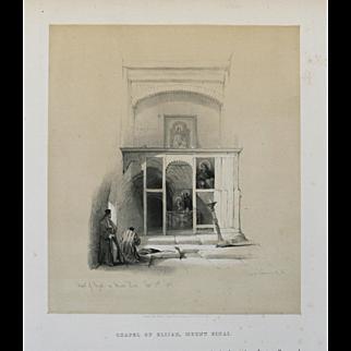 """Chapel of Elijah, Mount Sinai"" A Tinted Lithograph Print by Artist David Roberts"