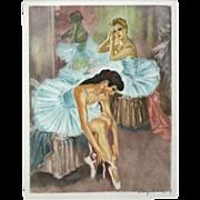 """""""Ballerina 3"""" Colored Mezzotint Print"""