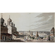 """The Kremlin, Moscow"" Hand Colored Aquatint"