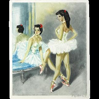 """Ballerina I"" Color Mezzotint Print"