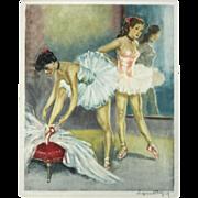 """""""Ballerina 2"""" Color Mezzotint Print"""