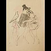 """Le Cirque (The Circus) #8"" Color Lithograph by Artist Vertes, Marcel"