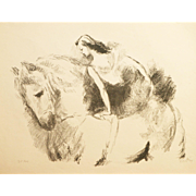 """""""Horse Rider"""" A lithograph Print by Artist Vertes, Marcel"""