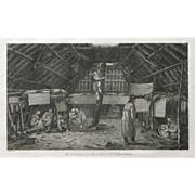 """The Inside of a House, in Oonalashka (Alaska)""  A Copper Engraving Print by Artist Webber, John"