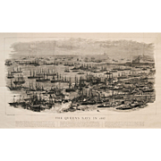 """The Queen's Navy in 1887"" Wood Engraving Print by Artist Willie, W. L."