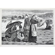 """""""On The Beach At Long Beach, The Children's Hour"""" Antique Print, Winslow Homer"""