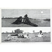 """""""Flirting On The Seashore and On The Meadow"""" Antique Print, Winslow Homer"""