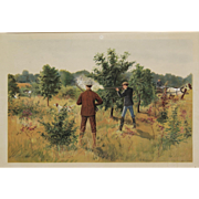 """A Day with the Chickens (Pinnated Grouse Hunting)"" Zogbaum Chromolithograph Print"