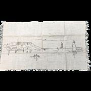 Nautical Embroidery on homespun linen
