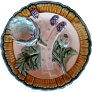 French Majolica Pottery Asparagus Plate, Salins les Bains, Vintage Early 20th Century