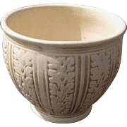 Weller Pottery Clinton Ivory Jardiniere, Planter, Oak Leaf Pattern, Circa 1910s, Arts and Crafts, Cottage Chic