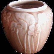 Rookwood Pottery Vase, Rosy Tan High Gloss Glaze, Spring Flower Motif, Circa 1949