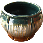 Arts & Crafts Pottery Jardiniere, Planter, Circa 1920s, 1930s, Buttress Detail, Teal, Tan and Brown Drip Glaze