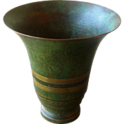 Bronze Vase by Carl Sorensen, Arts and Crafts, Craftsman Style, Verdigris Finish, Vintage Metalware, Circa 1920s
