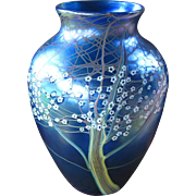 Very Large Orient & Flume Glass Hawthorn Vase, Iridescent Blue with Millefiori Technique, Collectible Art Glass
