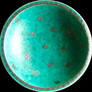 Gustavsberg Argenta Pedestal Dish, Bowl, Vintage Art Pottery from Sweden, Circa 1930s