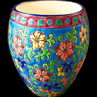 Longwy France Vase, Jardiniere, Circa 1890-1948, Exquisite Colors