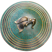 Arts and Crafts Bronze Bowl with Lid by Carl Sorensen, Verdigris Finish, Vintage Metalware, Circa 1920s