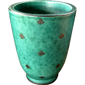 Gustavsberg Argenta Vase, Turquoise with Silver Overlay, Vintage Art Pottery from Sweden