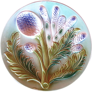 Majolica Asparagus Plate, Vintage Art Pottery, French Country Style