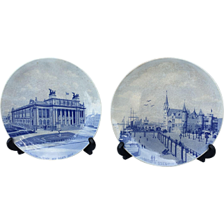 Two plates depicting city views Antwerp