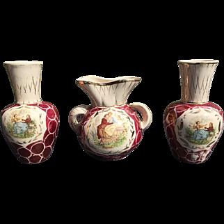 Belgian vintage cabinet set Watteau (amphora and vases)
